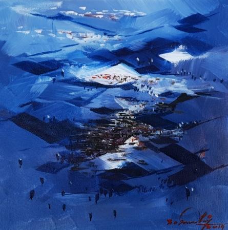 Landscape Acrylic Art Painting title 'Untitled 1' by artist Solomon Rajendiran