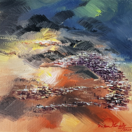 Landscape Acrylic Art Painting title 'Untitled 16' by artist Solomon Rajendiran