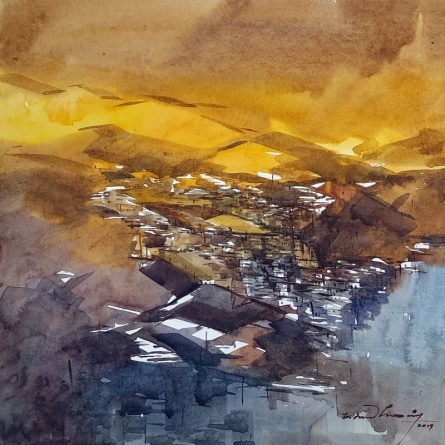 Landscape Watercolor Art Painting title 'Untitled 18' by artist Solomon Rajendiran