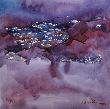 Landscape Watercolor Art Painting title Untitled 19 by artist Solomon Rajendiran