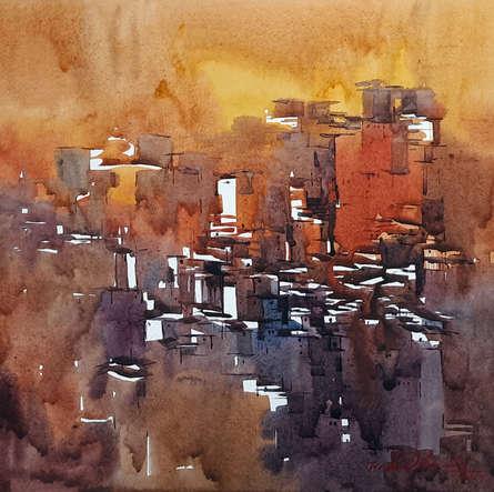 Landscape Watercolor Art Painting title 'Untitled 20' by artist Solomon Rajendiran