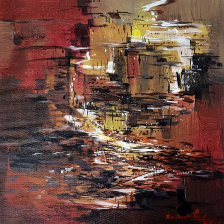 Landscape Acrylic Art Painting title 'Untitled 3' by artist Solomon Rajendiran