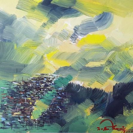 Landscape Acrylic Art Painting title 'Untitled 4' by artist Solomon Rajendiran