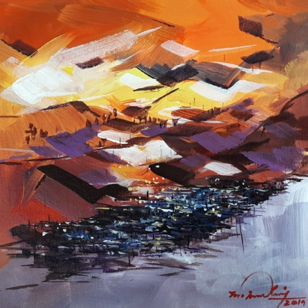 Landscape Acrylic Art Painting title 'Untitled 5' by artist Solomon Rajendiran