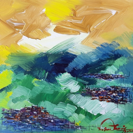 Landscape Acrylic Art Painting title 'Untitled 7' by artist Solomon Rajendiran