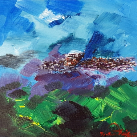 Landscape Acrylic Art Painting title 'Untitled 8' by artist Solomon Rajendiran