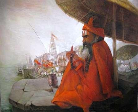 Motivational Oil Art Painting title 'Ghats Of Banaras' by artist Arun Samadder