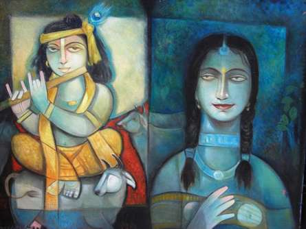 Motivational Oil Art Painting title 'Krishna o Radha' by artist Arun Samadder