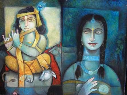 Krishna - o - Radha | Painting by artist Arun Samadder | oil | Canvas
