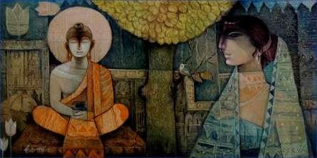 Buddha - O - Sujata | Painting by artist Arun Samadder | oil | Canvas