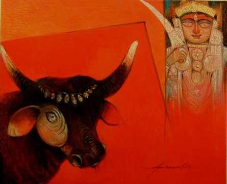 Arun Samadder | Oil Painting title Bull O Devi on Canvas | Artist Arun Samadder Gallery | ArtZolo.com