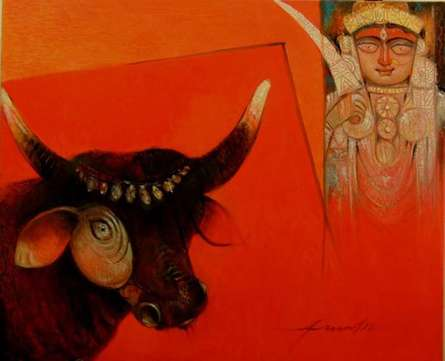 Bull - O - Devi | Painting by artist Arun Samadder | oil | Canvas