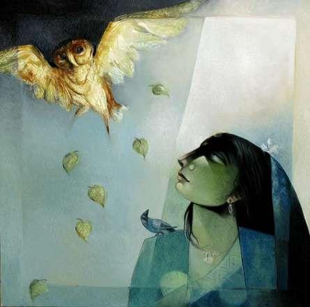 Fantasy Oil Art Painting title 'Owl o women' by artist Arun Samadder