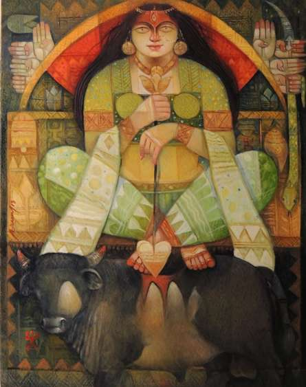 Figurative Oil Art Painting title 'Durga O Bull' by artist Arun Samadder