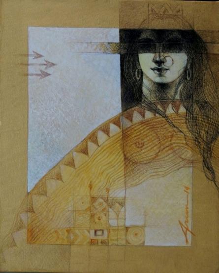 Religious Acrylic Art Painting title Devi by artist Arun Samadder