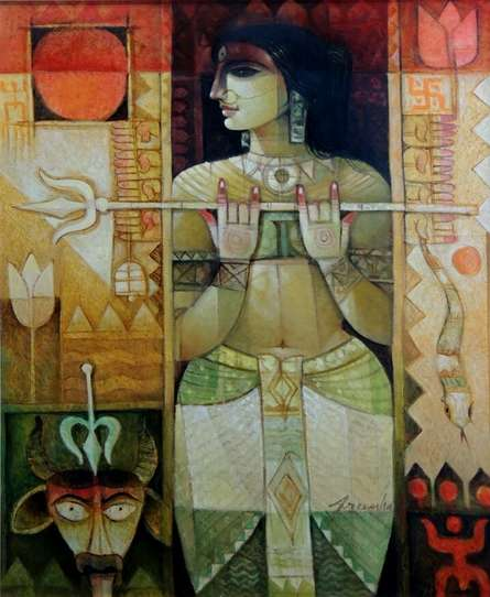 Religious Oil Art Painting title 'Durga' by artist Arun Samadder