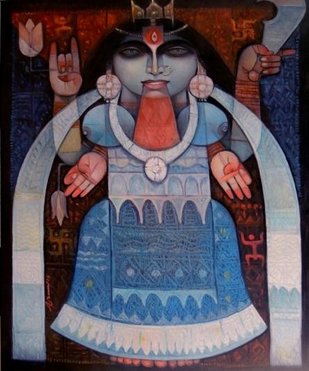 Religious Oil Art Painting title Goddess Kali by artist Arun Samadder