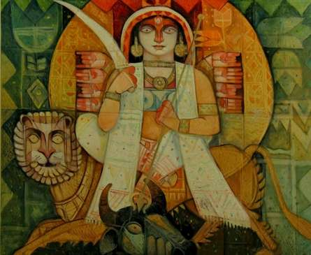 Religious Acrylic Art Painting title 'Jagadhatri' by artist Arun Samadder