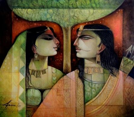 Religious Oil Art Painting title Karna O Drapaudi by artist Arun Samadder
