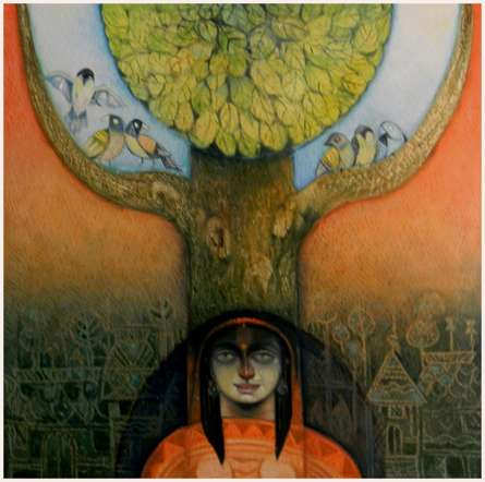 Religious Acrylic Art Painting title Mindscape by artist Arun Samadder