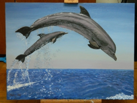 Madhuri Nag | Oil Painting title Dolphins on Canvas Board | Artist Madhuri Nag Gallery | ArtZolo.com