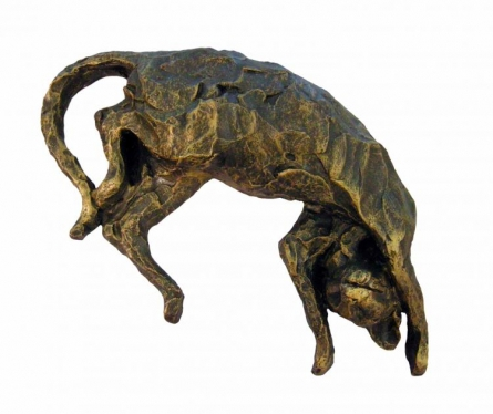 Fiber Glass Sculpture titled 'Cat' by artist Vnayak Rampure