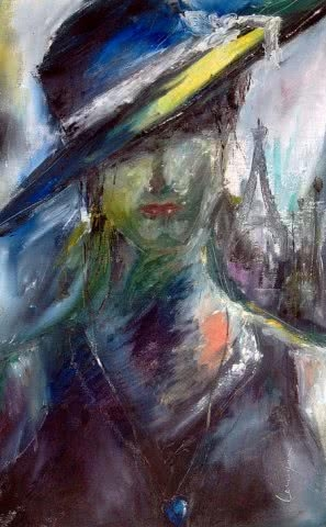 Expressionist Oil Art Painting title 'Lolita loveinparis' by artist Onkar K