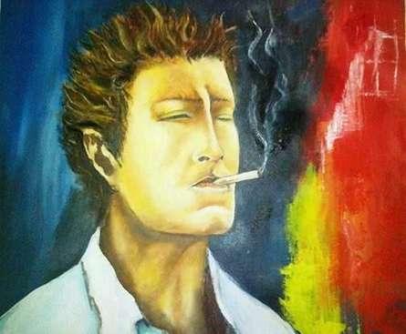 Brning myself - Jabhi Cigrate jalti hai - 'Main jalta hoon'. | Painting by artist Onkar K | oil | Canvas