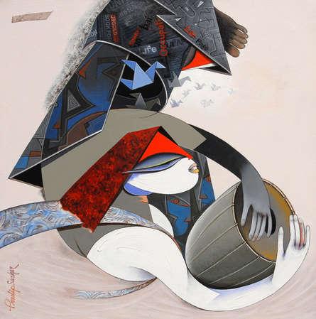 Figurative Acrylic Art Painting title Destination 1 by artist Pradip Sarkar