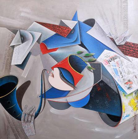 Figurative Acrylic Art Painting title Destination 2 by artist Pradip Sarkar