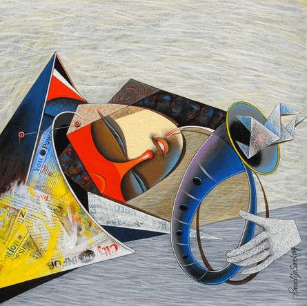Figurative Acrylic Art Painting title Destination 3 by artist Pradip Sarkar