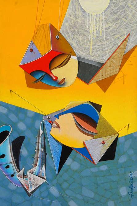 Pradip Sarkar | Acrylic Painting title Flight Of Imagination 5 on Canvas | Artist Pradip Sarkar Gallery | ArtZolo.com