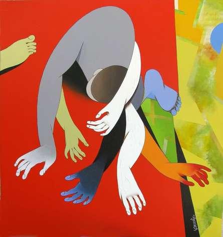 Figurative Acrylic Art Painting title 'Inspiration' by artist Pradip Sarkar