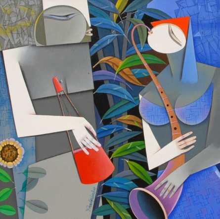 Figurative Acrylic Art Painting title 'Love Always Triumphs 2' by artist Pradip Sarkar