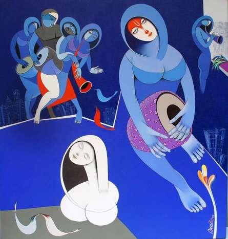 Musicians IX   Painting by artist Pradip Sarkar   acrylic   Canvas