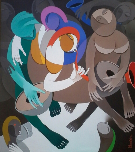 Pradip Sarkar | Acrylic Painting title Rhythm And Melodies 6 on Canvas | Artist Pradip Sarkar Gallery | ArtZolo.com