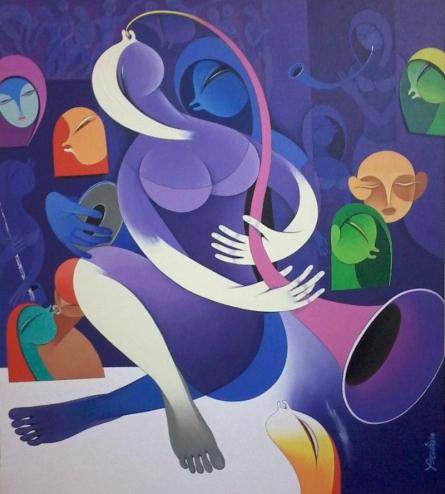 Pradip Sarkar | Acrylic Painting title Rhythm And Melodies 7 on Canvas | Artist Pradip Sarkar Gallery | ArtZolo.com