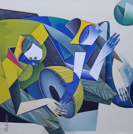 Figurative Acrylic Art Painting title Shakti 3 by artist Pradip Sarkar