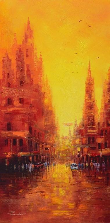 Cityscape Oil Art Painting title 'First Light' by artist Purnendu Mandal