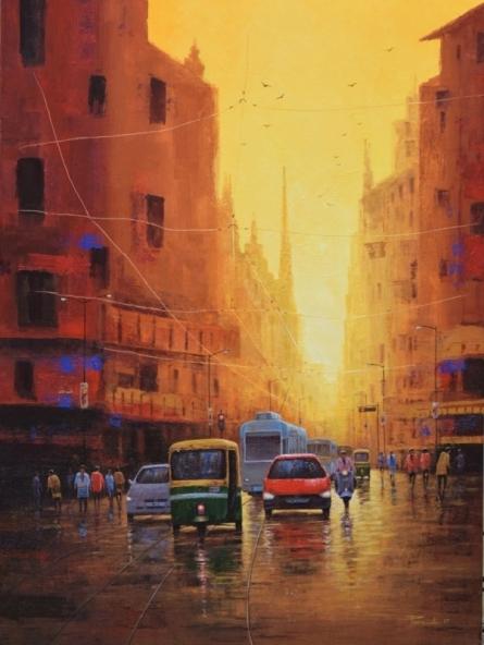 Purnendu Mandal | Acrylic Painting title Good Morning Kolkata on Canvas | Artist Purnendu Mandal Gallery | ArtZolo.com