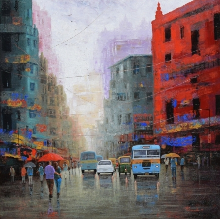 Rainy Day In Kolkata | Painting by artist Purnendu Mandal | acrylic | Canvas