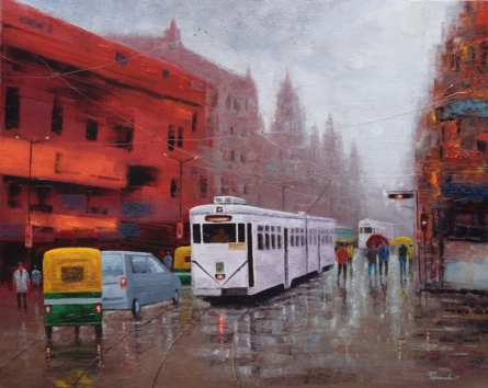 Cityscape Oil Art Painting title Rainy Day In Kolkata by artist Purnendu Mandal