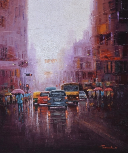 Cityscape Oil Art Painting title 'City Life' by artist Purnendu Mandal