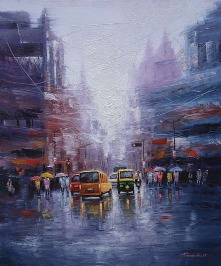 City Life | Painting by artist Purnendu Mandal | oil | Canvas