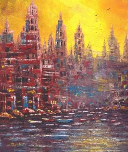 Cityscape Oil Art Painting title 'First Lite' by artist Purnendu Mandal