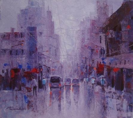Cityscape Acrylic Art Painting title CityScape by artist Purnendu Mandal