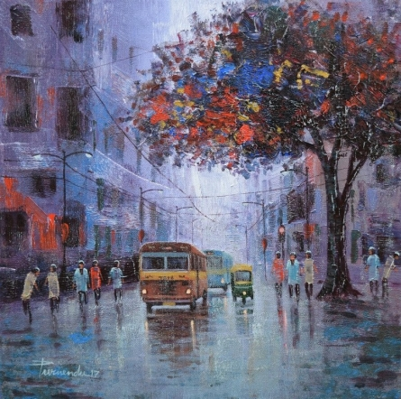 Cityscape Acrylic Art Painting title 'After Rain' by artist Purnendu Mandal