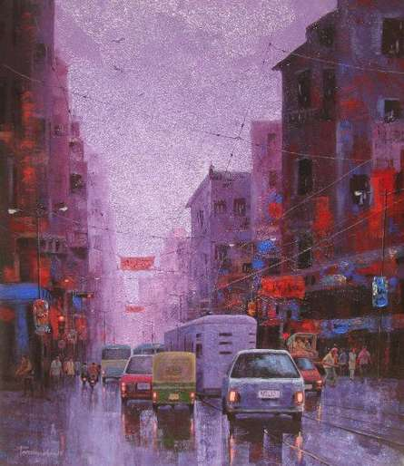 After Rain In Kolkata I | Painting by artist Purnendu Mandal | acrylic | Canvas