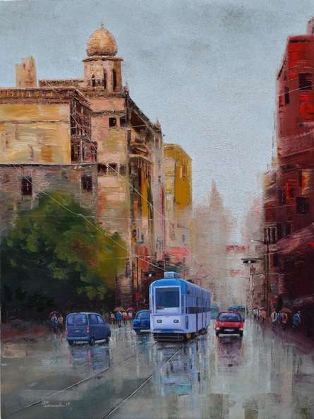 Cityscape Oil Art Painting title 'After Rain In Kolkata 2' by artist Purnendu Mandal