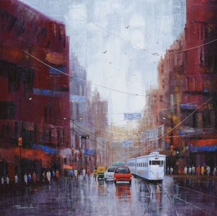 Cityscape Acrylic Art Painting title 'After Rain In Kolkata' by artist Purnendu Mandal